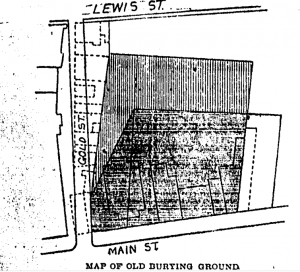 Map of Old Burying Ground at Main and Gold Streets