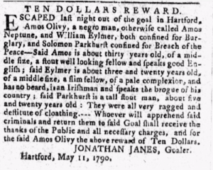 Amos Olivy, runaway ad, THE Connecticut Courant, AND WEEKLY INTELLIGENCER, May 17, 1790
