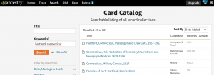 Ancestry Card Catalogue Search