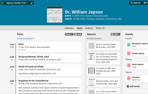 Dr. Jepson's Ancestry.com Timeline
