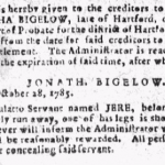 Jere, runaway ad, Connecticut Courant, no. 1084, October 31, 1785