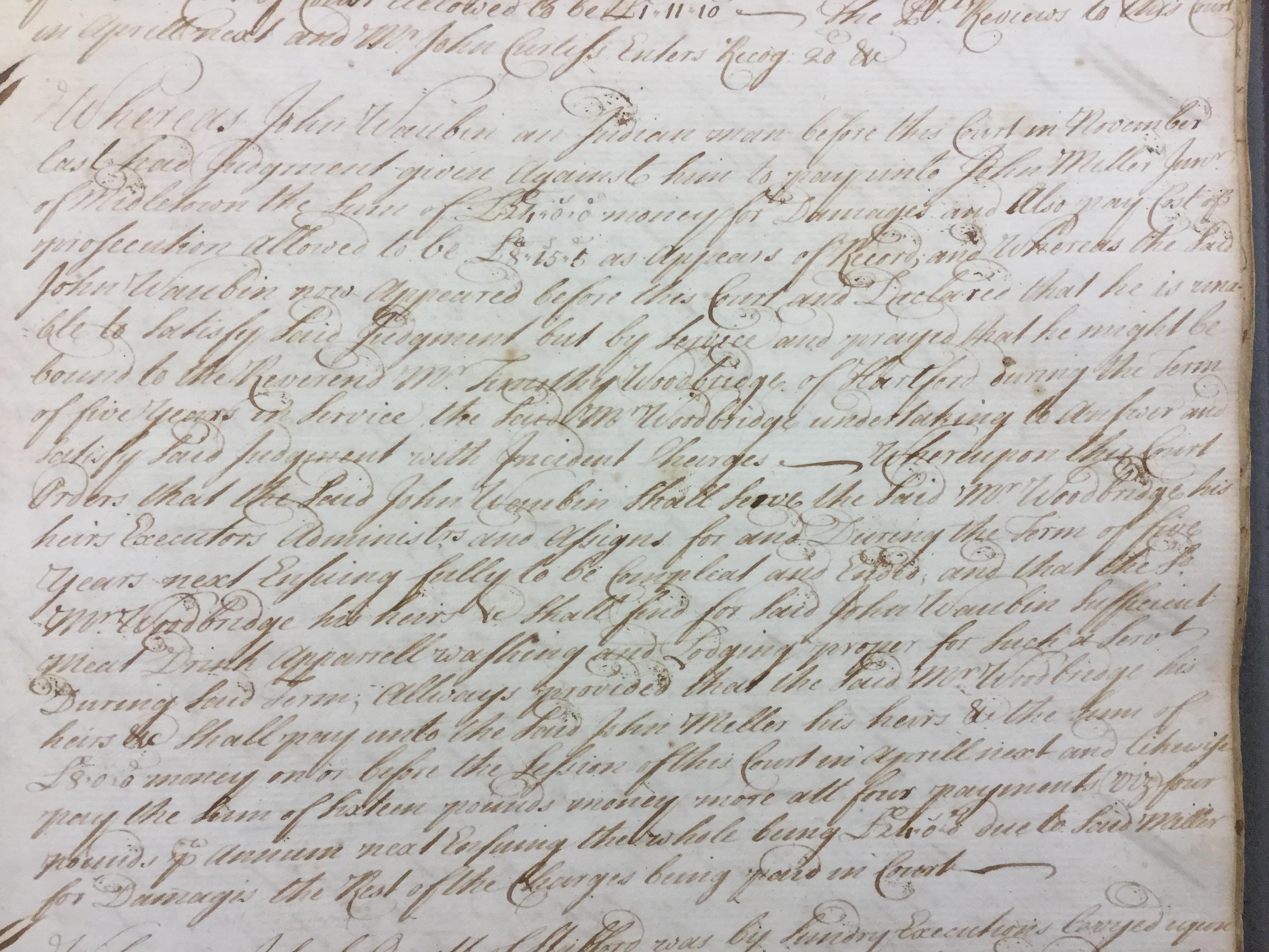 Record of Waubin's indenture to Rev. Woodbridge