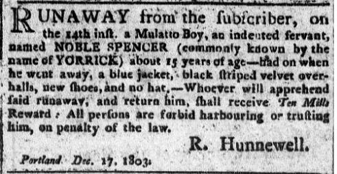 Noble Spencer Mulatto Boy Indentured 1803