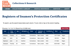 Registers of Seamen's Protection Certificates