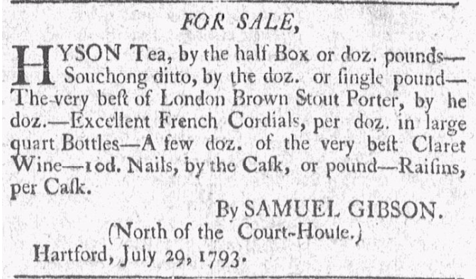 Samuel Gibson, Goods for Sale, American Mercury, August 5, 1793