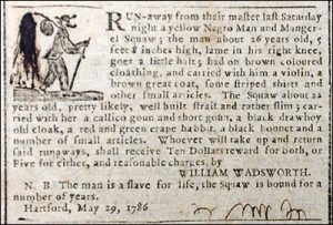 "Ad for a runaways described as a ""yellow Negro man"" and a ""Mungerel squaw."""