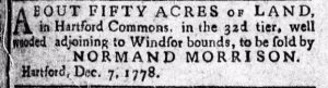 Normand Morrison, II, THE CONNECTICUT COURANT, AND THE WEEKLY INTELLIGENCER December 15, 1778