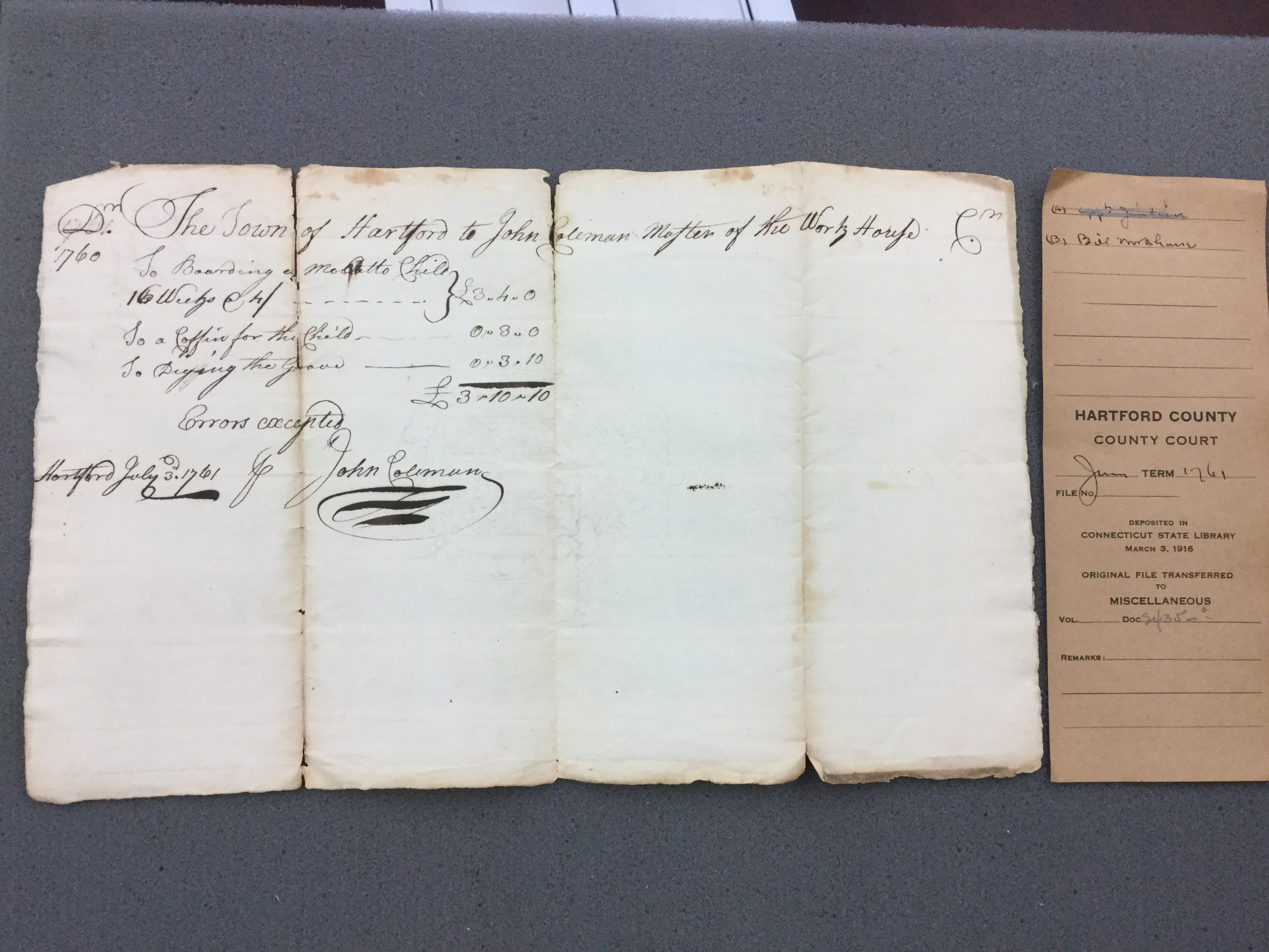Photo of document - mulatto child's coffin bill