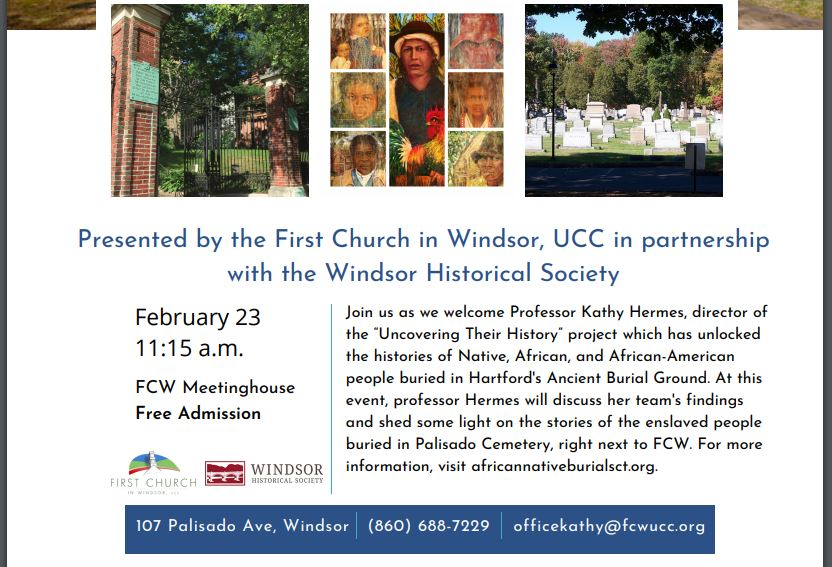 Poster for the February 23, 2020 lecture at First Church in Windsor